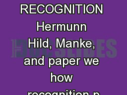 LETTER RECOGNITION Hermunn Hild, Manke, and paper we how recognition p