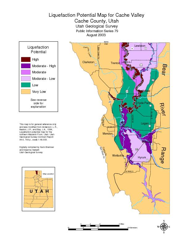 Liquefaction Potential Map for Cache ValleyCache County, UtahUtah Geol