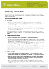 T  Conducting a c redit check Landlords should have a