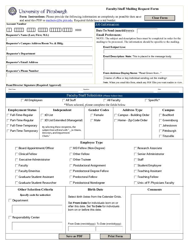 Faculty/Staff Mailing Request Form                 Form  Instructions:
