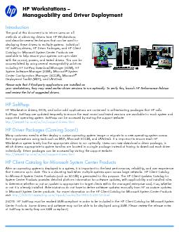 HP Workstations –Manageability and Driver Deployment PowerPoint PPT Presentation