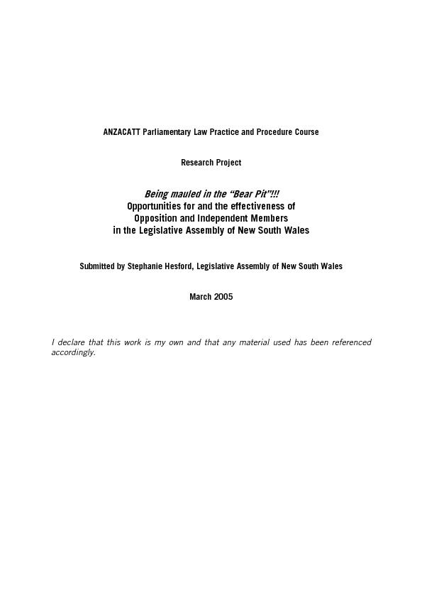 ANZACATT Parliamentary Law Practice and Procedure Course Being mauled PDF document - DocSlides