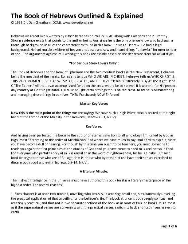 Page of The Book of Hebrews Outlined & Explained PDF ...