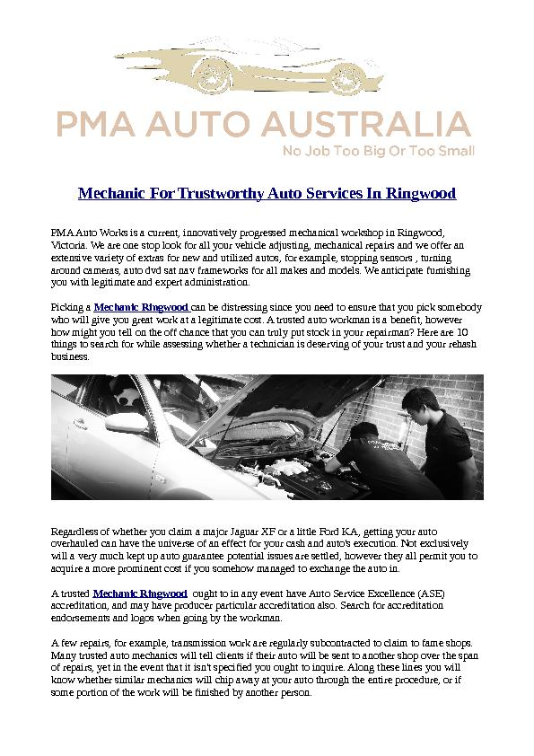 Mechanic For Trustworthy Auto Services In Ringwood