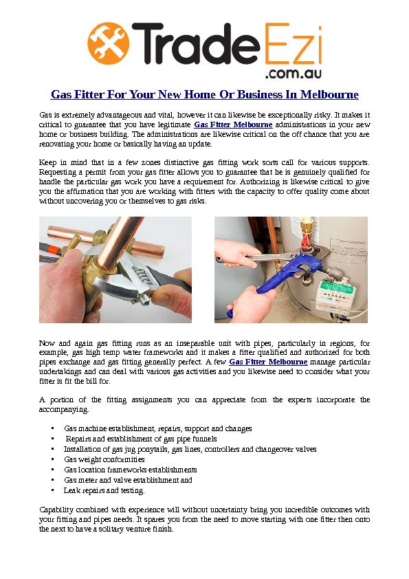 Gas Fitter For Your New Home Or Business In Melbourne