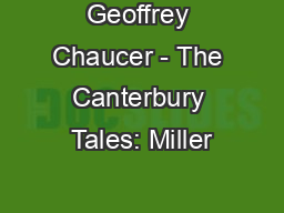 Geoffrey Chaucer - The Canterbury Tales: Miller