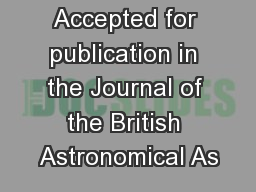 Accepted for publication in the Journal of the British Astronomical As