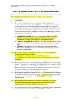 Academic Regulations and Procedures:  Procedures for dealing with clai