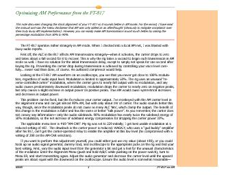 Optimizing AM Performance from the FT-817This note discusses changing