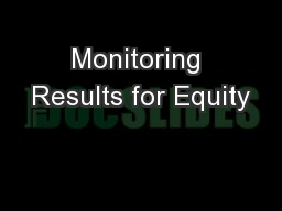 Monitoring Results for Equity