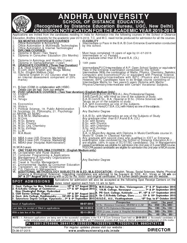 Applications are invited from the candidates residing in India for Adm