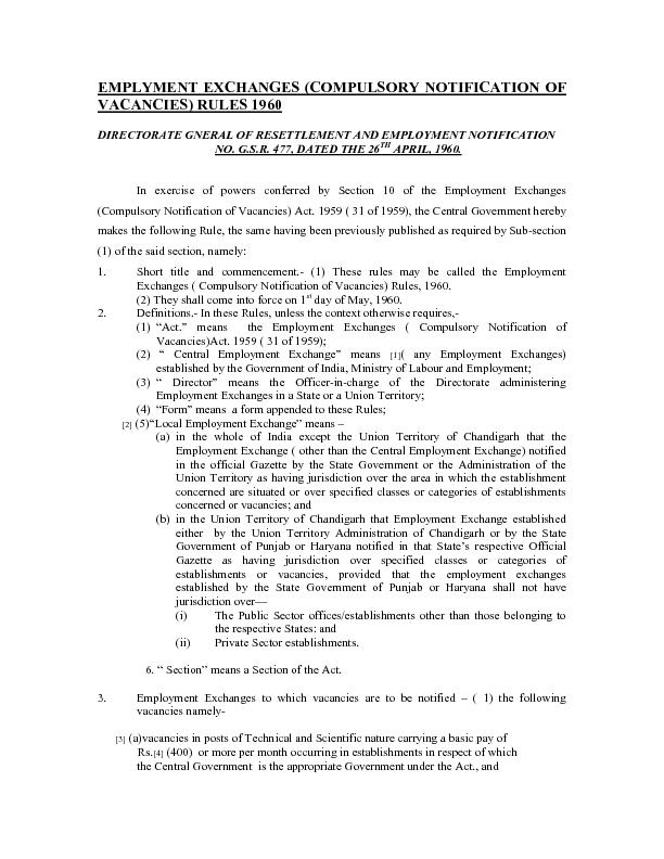 EMPLYMENT EXCHANGES (COMPULSORY NOTIFICATION OF