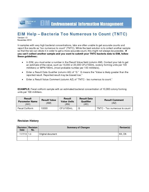 EIM Help Bacteria Too Numerous to Count (TNTC)Version 1.0November 2013