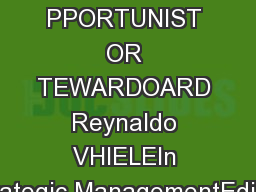 PPORTUNIST OR TEWARDOARD Reynaldo VHIELEIn Strategic ManagementEdited