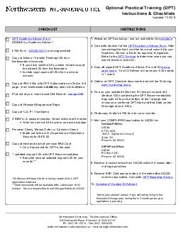 Optional Practical Training (OPT) Instructions & Checklists Updated 1/