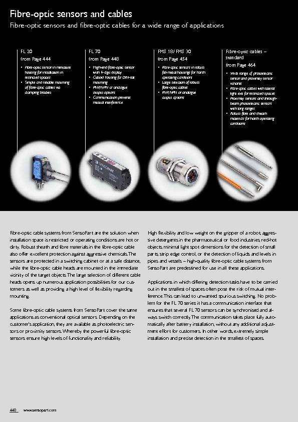 from Page 444  Fibre-optic sensor in miniature housing for installatio