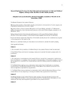 Second Optional Protocol to the International Covenant on Civil and Po