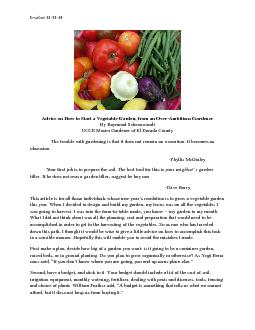 Advice on How to Start a Vegetable Garden, from an Over