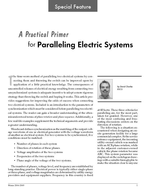 He time worn method of paralleling two electrical scstems for Electrical substation design fundamentals pdf