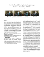 RealTime ProsodyDriven Synthesis of Body Language Serg