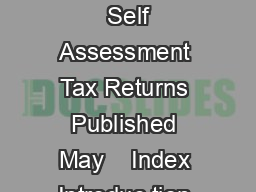 Income Tax Losses Toolkit  Self Assessment Tax Returns Published May    Index Introduc tion