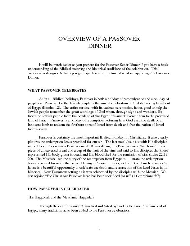 OVERVIEW OF A PASSOVER  DINNER It will be much easier as you prepare f PowerPoint PPT Presentation