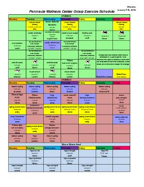 Peninsula Wellness Center Group Exercise Schedule