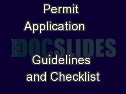 Permit Application                          Guidelines and Checklist