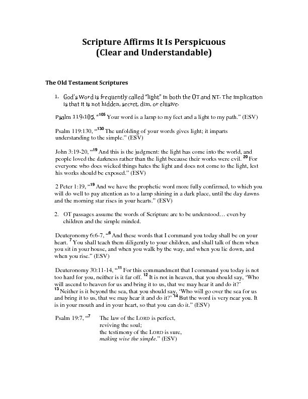 Scripture Affirms It Is Perspicuous(Clear and Understandable)The Old T