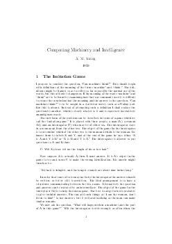 Computing Machinery and Intelligence A