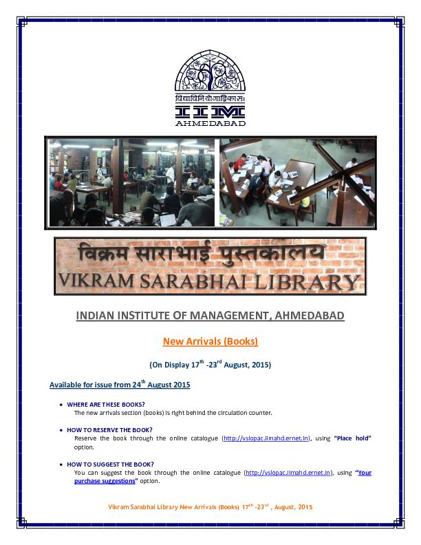 Vikram Sarabhai Library New Arrivals (Books)
