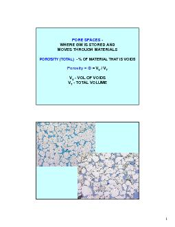 PORE SPACES -WHERE GW IS STORED AND MOVES THROUGH MATERIALS PowerPoint PPT Presentation