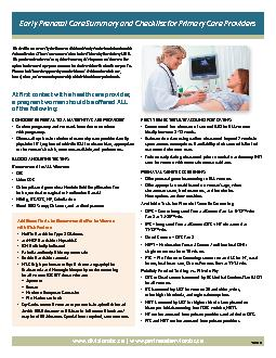 Early Prenatal Care Summary and Checklist for Primary Care Providers .