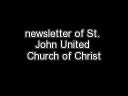 newsletter of St. John United Church of Christ