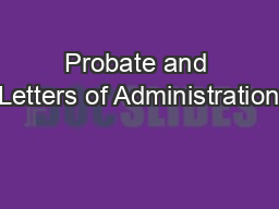 Probate and Letters of Administration