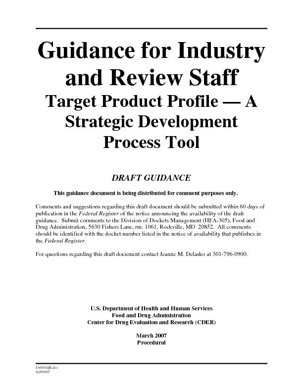 Guidance for Industry and Review Staff