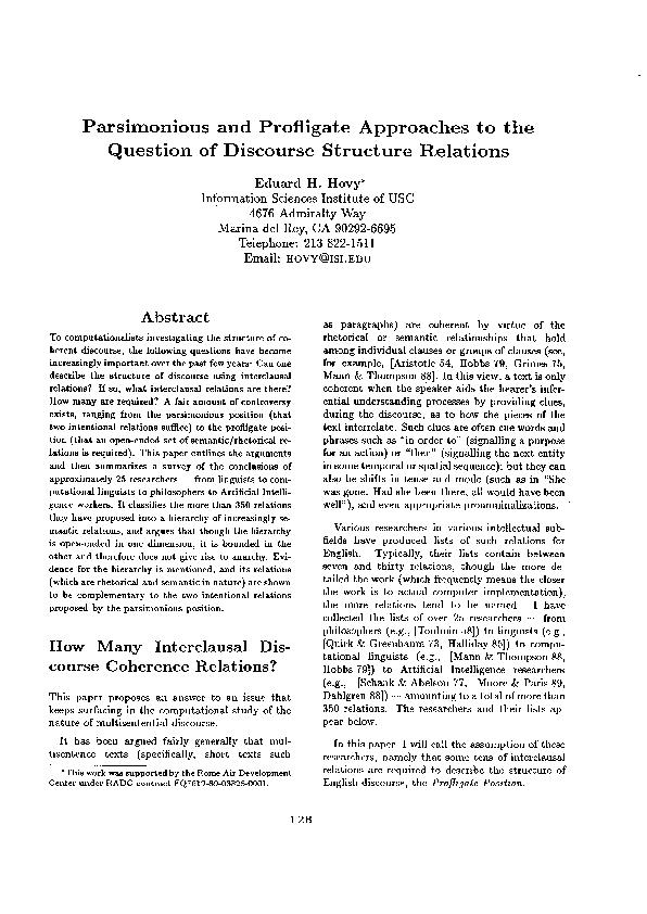 and Profligate Approaches to the Question of Discourse Structure Relat