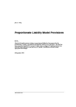 [PCCProportionate Liability Model ProvisionsNOTEThis draft ofmodel pro
