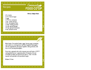 Chewy Ginger Bars  butter   brown sugar gg   fl oz mol