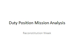 Duty Position Mission Analysis