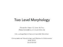 Two Level Morphology PowerPoint PPT Presentation
