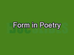 Form in Poetry PowerPoint PPT Presentation