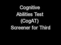 Cognitive Abilities Test (CogAT) Screener for Third