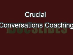 Crucial Conversations Coaching