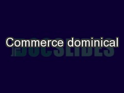 Commerce dominical