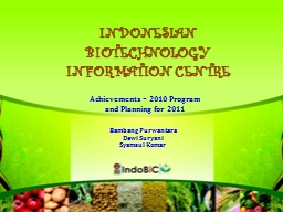 INDONESIAN BIOTECHNOLOGY INFORMATION CENTRE
