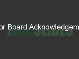Honor Board Acknowledgements