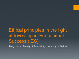 Ethical principles in the light of Investing in Educational