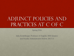 Adjunct Policies and Practices at C of C