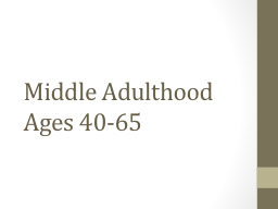 Middle Adulthood Ages 40-65